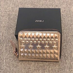 JUUN.J Metallic Pink Studded Zip Around Wallet New